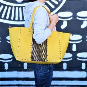 Boutique-Pink Haley Mustard Oversized Studded Tote
